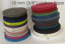 "10mm 3/8"" Width Cotton Herringbone Tape Fabric Dress Making sewing Bunting strap"