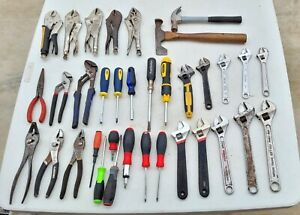 ~LOT OF 35 HAND TOOLS~Fuller Stanley Kobalt Vise Grips Adjustable Wrench Pliers!
