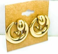 "Vintage Napier SIGNED Gold Dangling Drop Puffy ""Doorknocker"" Earrings 1950s"
