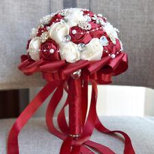 Gorgeous Artificial Satin Rose Crystals Wedding Bridal Bouquet Bride Hand Flower
