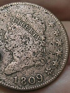 1809 Classic Head Large Cent Penny- Fine/VF Details