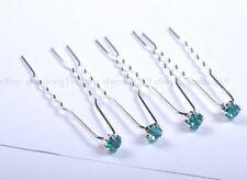 Lots Bridal Prom Wedding Party Diamante Czech Crystal Rhinestone Hair Pins Clips