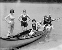 Canoe gals Photo 1920  Swimsuits roaring 20s  Flappers Jazz Prohibition era