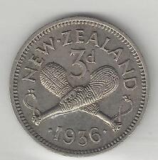 NEW ZEALAND, 1936, THREE (3) PENCE, SILVER . EXTRA FINE,  KM-1