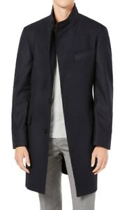 Hugo Boss Mens Top Coat Blue Size 44R Wool Houndstooth Stand-Collar $495 053