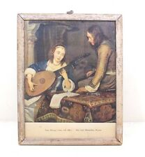 Vintage Beautiful LADY PLAYING A LUTE WITH OFFICER Litho Print with Old Frame