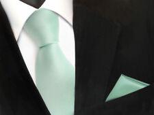 schöne TigerTie Krawatte + Einstecktuch in mint blassmint grün uni - Binder Tie