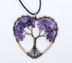 Tree of Life Amethyst Healing Stone Necklace Copper Yoga Chakra Reiki Quartz