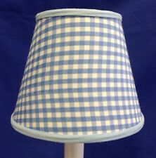 Baby Blue & White Gingham Check Chandelier / Electric Candle lampshade  Shade