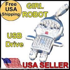 Robot Girl USB Silver Metal Crystal Memory Stick Thumb Drive Chrome 2GB Necklace