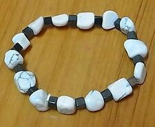 Natural Jasper and Hematite Beads Bracelet Elastic Band Gift New
