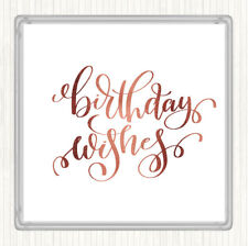 Rose Gold Birthday Wishes Quote Drinks Mat Coaster