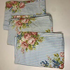 pillowcase shams unbranded color blue white striped floral bouquet print set