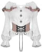 Dark In Love Steampunk Gypsy Blouse Top White Brown Boho Nautical VTG Victorian