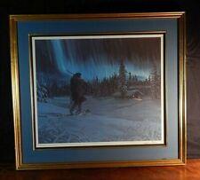 Charles Gause, Alaska Artist: Hunting Cabin, Aurora Borealis Fills The Night Sky