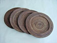 "Woven Rattan Chargers, Set of 4, 13"" Outside Diameter, Dark Brown, New"