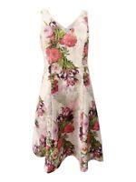 Adrianna Papell Women's Floral-Print Fit & Flare Dress (4, Rose Multi)