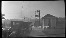 N817 1930'S NEGATIVE...OLD CARS LINED UP AT BRIDGE,BORDER? CROSSING CHECK POINT