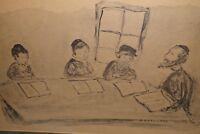 Simon Karczmar Vintage Judaica Art - Rabbi & Boys Cheder framed print