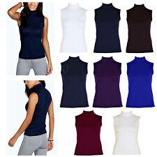 New Ladies Plain Polo Neck Women Sleeveless Stretch Turtle Jersey Basic Top 8-26