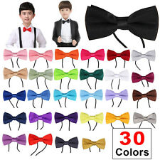 Kids Boys Childrens Adjustable Pre Tied Satin Wedding Dress Party Bow Ties New
