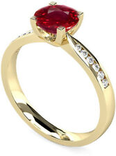 Lab 2.18CT Ruby Gemstone Diamond Rings Solid 14kt Gold Ring Size N P M O P