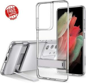Case For Samsung Galaxy S21 Ultra Metal Kickstand Slim Flexible Silicone Cover