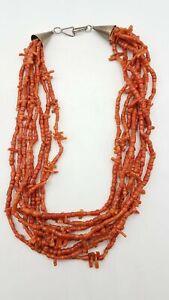 "900 Silver & Coral Bead Necklace 17.5"" LB101"