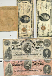 1929 Natl. Banknotes from Tampa & SF, a $60 Continental and 2x $100 Confederate