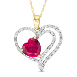 Created Ruby 1/6ct Diamond Multi-Row Heart Pendant in 10K Yellow Gold