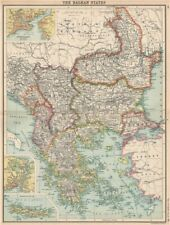 BALKANS. Turkey In Europe Greece Wallachia. Constantinople (Istanbul)  1912 map