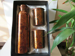 CS Pure Copper Ayurveda Choice 1 Water Bottle set with 2 Glasses Free Ship 1 Ltr