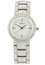 NEW DKNY SILVER TONE STAINLESS STEEL PAVE CRYSTAL,MOP DIAL,BRACELET WATCH NY8051