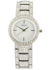 NEU DKNY Silber Ton Edelstahl Pave Kristall MOP Zifferblatt, Armband Uhr ny8051