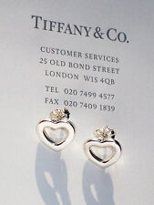 Tiffany & Co Argento Sterling Orecchini a Bottone Cuore LINK