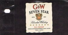 Unused 1940s ILLINOIS Peoria Gooderham Worts GW SEVEN STAR WHISKEY Small Label