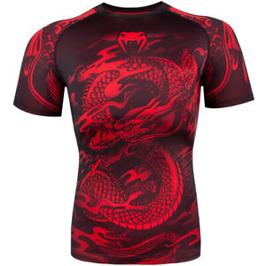 Venum Dragon's Flight Dry Tech Short Sleeve MMA Rashguard - Large - Black/Red