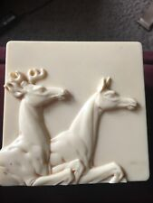 Vintage Early Plastic Trinket Box with Buck and Doe Scene