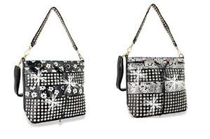 Bling Flower Messenger Bag Drawstring Rhinestone Crossbody Purse Black or Silver