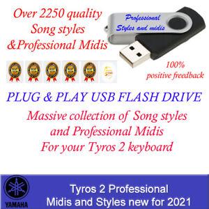 Yamaha Tyros 2 Song Styles and Midis, Plug and Play USB Flash Drive new for 2021
