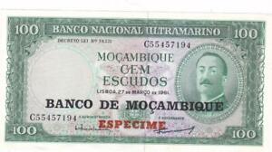 Mozambique Banco Nacional Ultramarino 100 Escudos 1961 Specimen Pick 117 s 1976