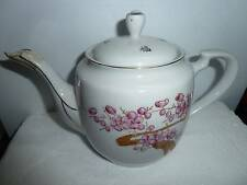 Chinese Porcelain Teapot with Pink Flowers Five Blessings FREE US SHIPPING