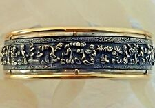 Antique Chinese Handcrafted 14 k & Sterling Cuff Bangle with Detail Work of Art