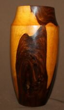 Vintage hand made lacquer turned wood vase