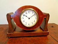 Antique Edwardian Oak Buren Swiss Made Platform Mantel Clock with Inlay Design