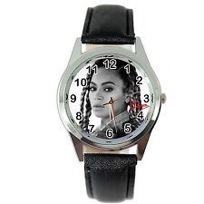 BEYONCE MUSIC STAR SINGER STAINLESS Steel BLACK LEATHER BAND ROUND CD WATCH