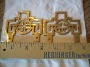 """LOT OF 2 VINTAGE ASIAN HONG KONG SOLID BRASS PICTURE FRAME HANGERS 1/8"""" Thick"""