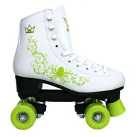✅24Hr DELIVERY✅Kingdom GB Vector QUAD ROLLER SKATES Retro White & Green Disco