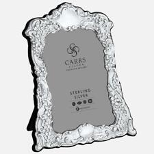 """CARRS - Traditional Sterling Silver Photo Frame With Grey Velvet Back - 5"""" x 3½"""