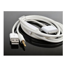 4FT 2IN1 USB 3.5MM AUX SYNC CHARGER WHITE CABLE IPHONE 4S 4 IPOD TOUCH NANO IPAD